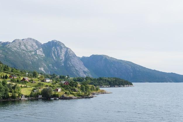 Zomer landschap met een dorp in noorwegen