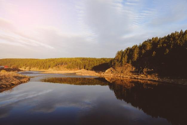 Zomer landschap van siberië. bos in de buurt van de rivier