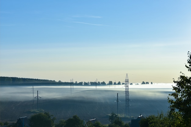 Zomer mistige ochtend. de weg ligt in het park. zonsopgang boven het bos achter dikke mist