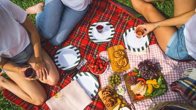 Zomer openluchtrecreatie met heerlijk eten en wijn