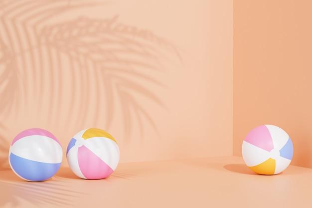 Zomer oranje achtergrond met opblaasbare strandballen en tropische bladeren schaduwen, 3d illustratie render