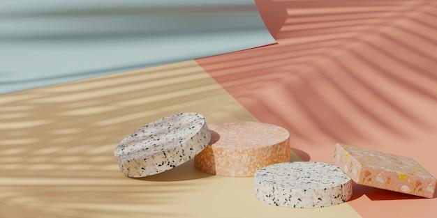 Zomer productpresentatie. pastel terrazzo op geel, roze en blauw papier roloppervlak met lus beweging schaduw van blad.