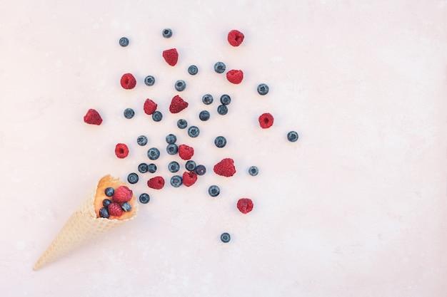 Zomer samenstelling bessen ijs wafel kegel