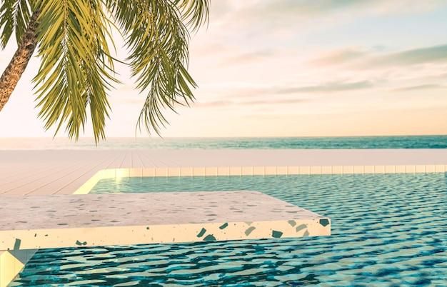 Zomer strand scène achtergrond met terrazzo podium