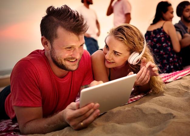 Zomer strand vriendschap vakantie vakantie concept