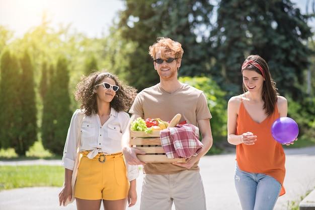 Zomer, tijdverdrijf. groep jonge vrolijke vriendelijke mensen die 's middags met bal en eten lopen op picknick in groen park