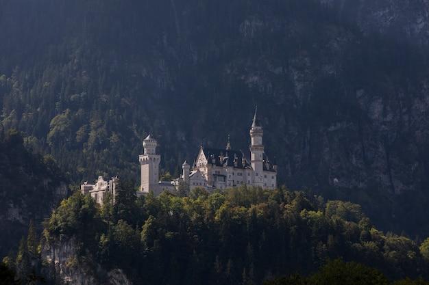 Zomer uitzicht in de buurt van kasteel neuschwanstein, beieren, zuid-duitsland