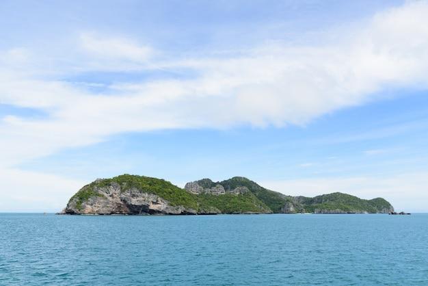 Zomer zeegezicht met groen eiland en blauwe hemel