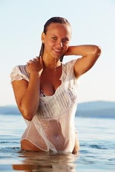 Zomer zomer zee gezond meisje