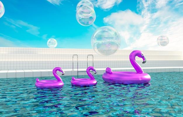 Zomer zwembad scène achtergrond met roze opblaasbare flamingo pool float