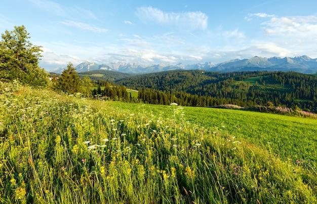 Zomeravond rand bergdorp met bloeiende velden en tatra-gebergte achter