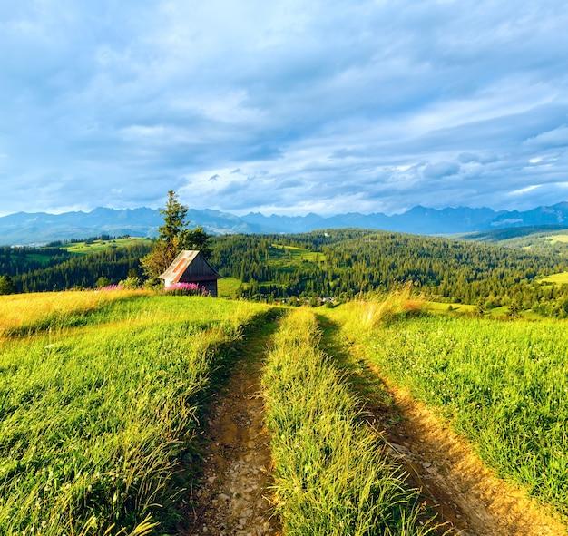 Zomeravond rand bergdorp met landweg vooraan en tatra-gebergte achter (gliczarow gorny, polen)