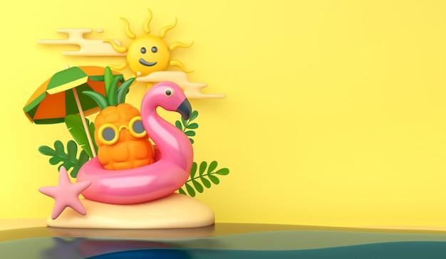 Zomerdecoratie achtergrond met ananas en opblaasbare flamingo
