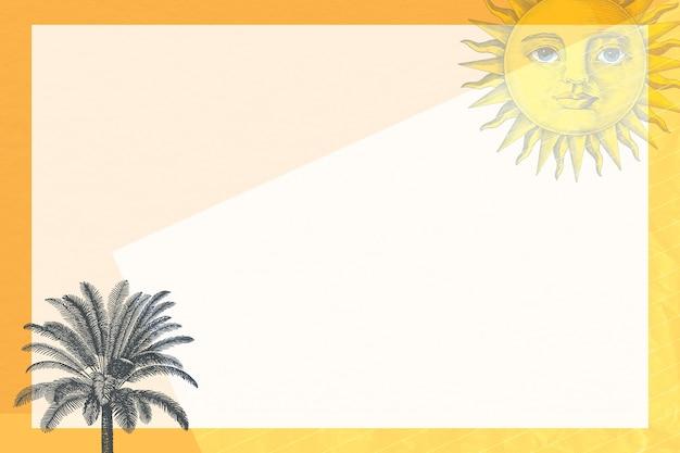 Zomerframe met gemengde media van zon en palmboom, geremixt van kunstwerken uit het publieke domein