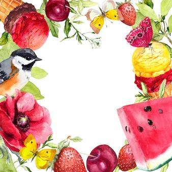 Zomerfruit, bessen, ijs, bloemen, vogels en vlinders. aquarel vierkante kaart met rijpe kersen, verse aardbeien, watermeloen