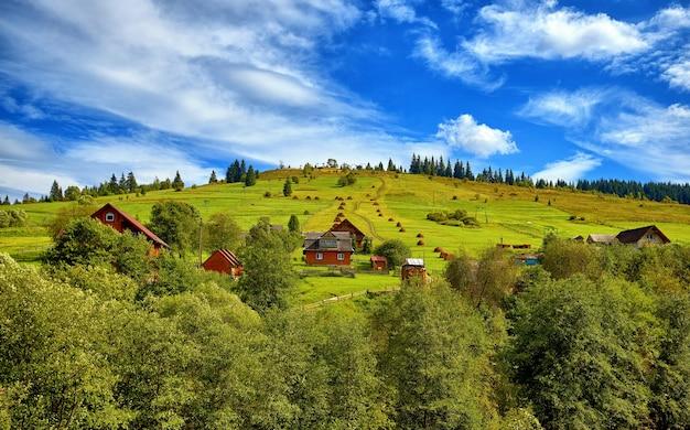 Zomerlandschap, landelijke huizen op de helling van groene bergen, tegen de achtergrond van een blauwe hemel met wolken, bomen en sparren