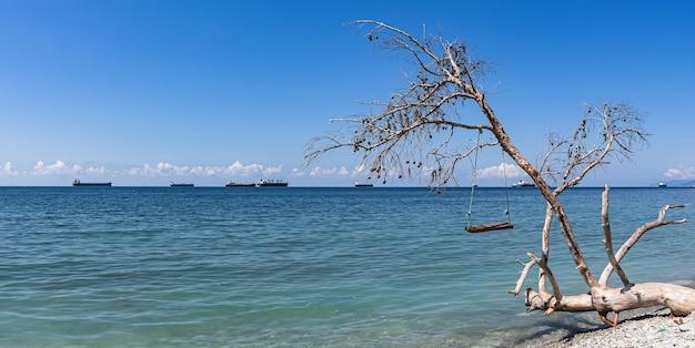 Zomerpanorama, uitzicht op zee, schommel op een omgevallen boom en vrachtschepen