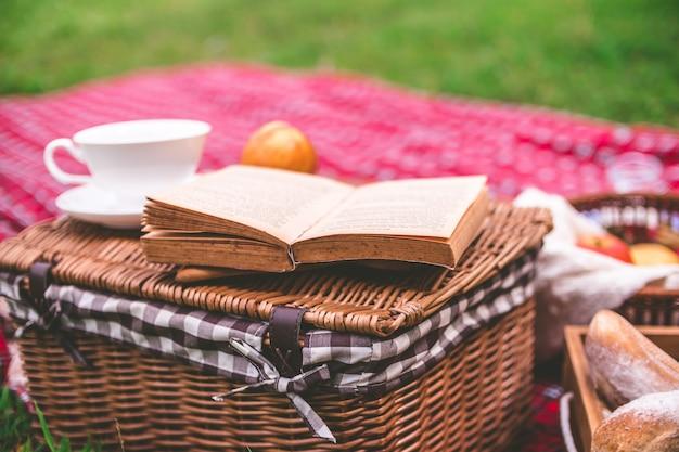 Zomerpicknick met boek en voedsel op rieten mand in het park.