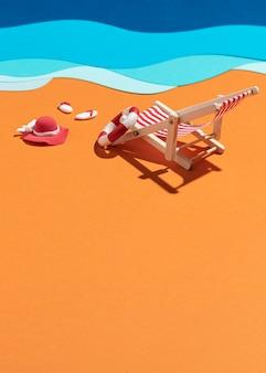 Zomerse strandsamenstelling gemaakt van verschillende materialen