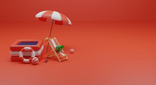 Zomertijd 3d-renderingsjabloon premium foto