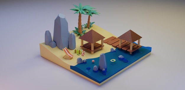 Zomervakantie concept banner strand ontwerp en reizen 3d-rendering premium foto's
