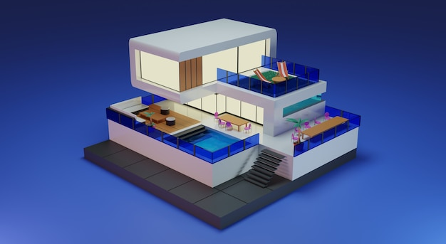 Zomervakantie concept zomer exterieur ontwerp blauwe achtergrond 3d-rendering premium foto's