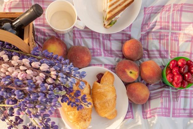 Zomervakantie in de frisse lucht mand met bloemen wijn perziken sandwiches