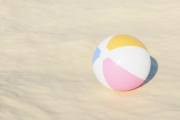 Zomervakanties oppervlak met opblaasbare strandballen en zand