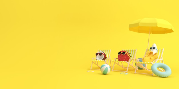 Zomervruchten, banaan en aardbei met kokosnoot zittend in strandstoelen op gele achtergrond, minimaal concept.