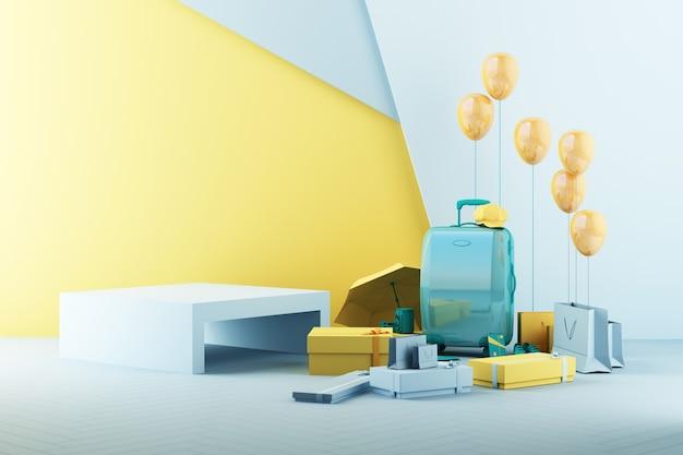 Zomerwinkelconcept met bagage in gele en groene toon 3d render