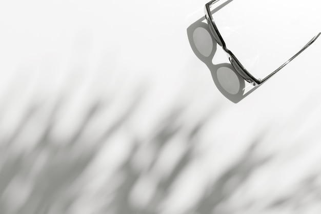 Zomerzonlicht met palmbladschaduw met trendy zonnebril op witte achtergrond