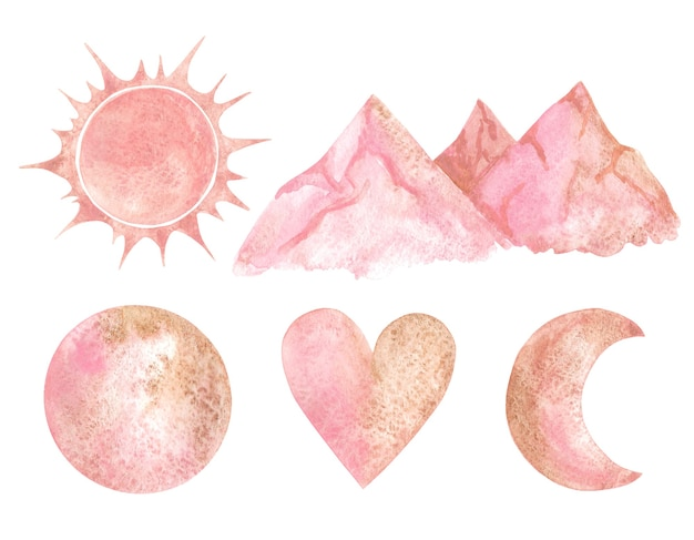 Zon, bergen, maan, halve maan en hart roze clip arts.
