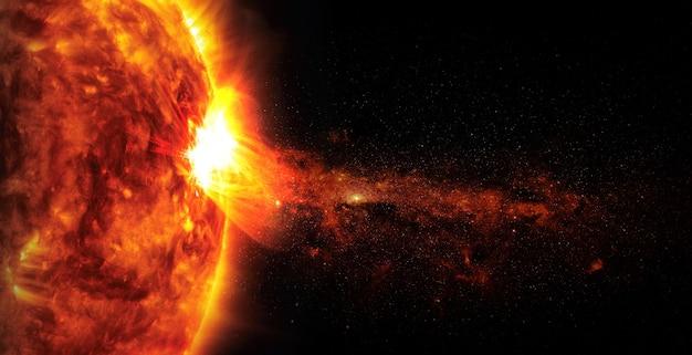 Zon op ruimteachtergrond