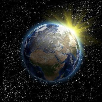 Zon, sterren en planeet aarde in de ruimte