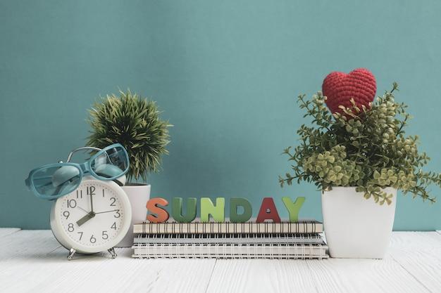 Zondag letters tekst en notitieboek papier, wekker en kleine boom