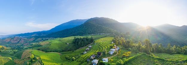 Zonlicht bij schemering van het landschap van het rijstlandbouwbedrijf. de terrasvormige padievelden van pa bong piang, mae chaem, chiang mai thailand