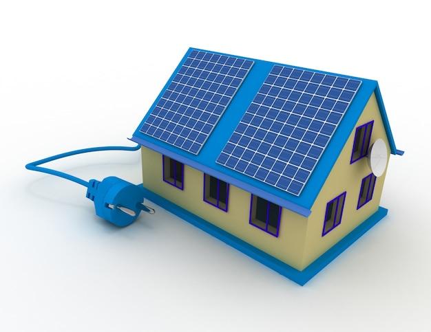 Zonne-energieconcept. 3d-gerenderde afbeelding