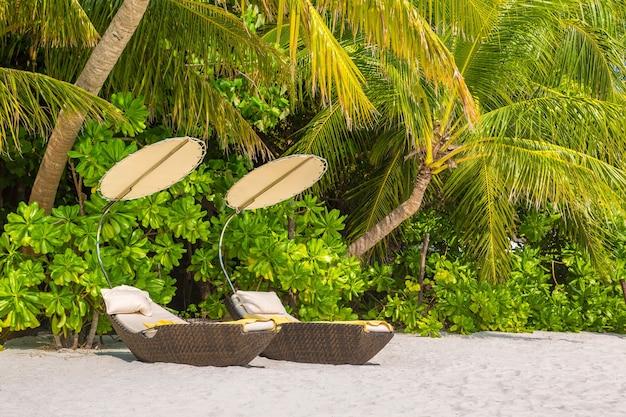 Zonnebank op tropisch strand op de malediven