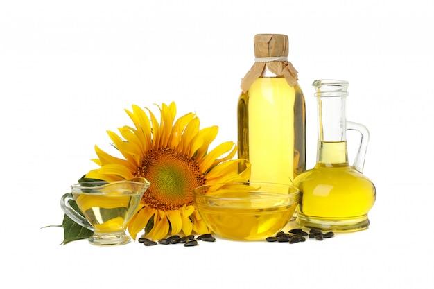 Zonnebloem, zaden en olie geïsoleerd