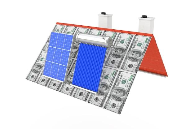 Zonneboiler en zonnepaneel geïnstalleerd op een dak van de dollarbiljetten op een witte achtergrond. 3d-rendering