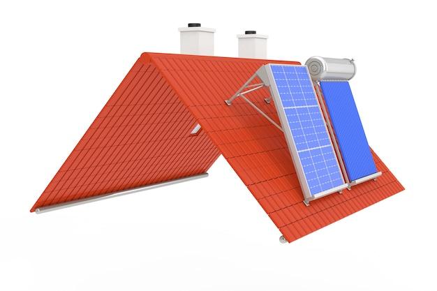 Zonneboiler en zonnepaneel geïnstalleerd op een rood dak op een witte achtergrond. 3d-rendering