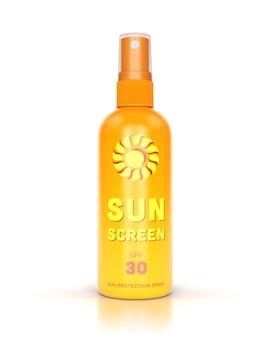 Zonnebrandcrème spray geïsoleerd op witte glanzende achtergrond.