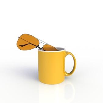 Zonnebril met gele koffiekop die op witte achtergrond wordt geïsoleerd