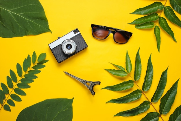 Zonnebril, retro camera, beeldje van de eiffeltoren op gele achtergrond met groene bladeren. reis achtergrond.