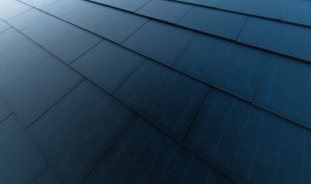 Zonnedakconcept. gebouwgeïntegreerd fotovoltaïsch systeem bestaande uit moderne monokristallijne zwarte zonnedakpannen. 3d-rendering.