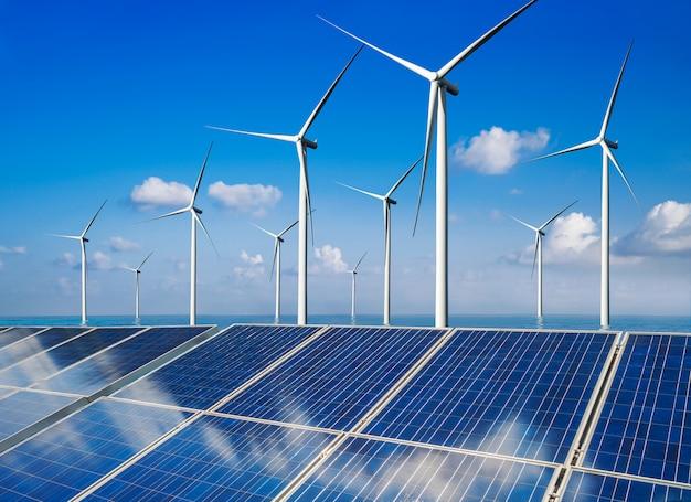 Zonnepaneel en windturbine boerderij schone energie.