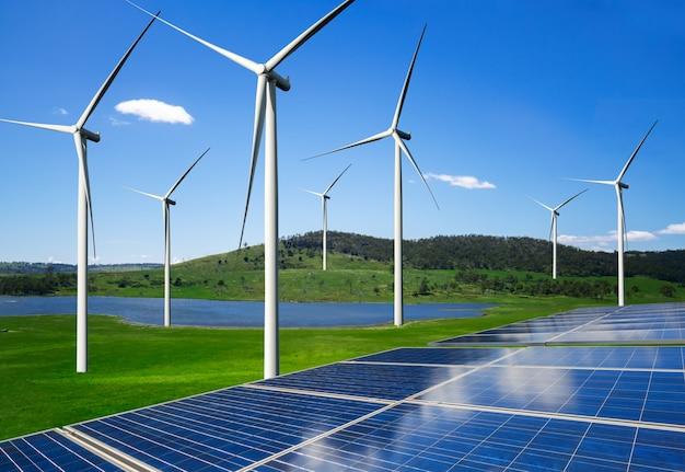 Zonnepaneel en windturbinepark schone energie.