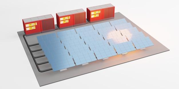 Zonnepaneelmodel van elektrisch opslagcentrum zonne-energie 3d illustratie