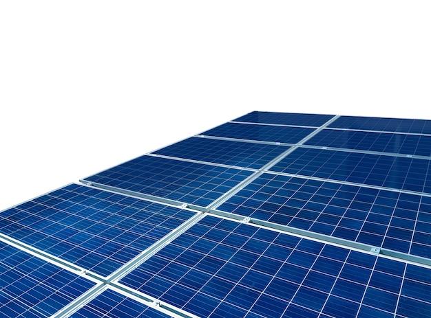Zonnepanelen geïsoleerd in wit voor zonne-energieconcept