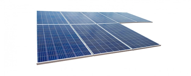 Zonnepanelen op witte achtergrond worden geïsoleerd die. zonne-energie conceptafbeeldingen.